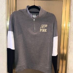 Purdue 1/4 zip sweatshirt with bling logo small